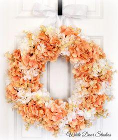 Peaches and Cream Hydrangea Wreath...easy to make, dollar store has hydrangeas!