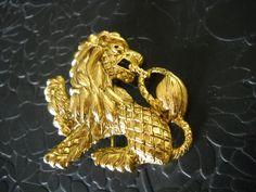 Brooch Joan Rivers Lion Figural Brooch Pin Big Bold Renaissance Revival Gold Tone Metal Retro by FindCharlotte on Etsy