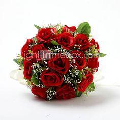 Cetim vermelho / rosa de algodão buquê de noiva Casamento Redonda de 532440 2016 por $14.99