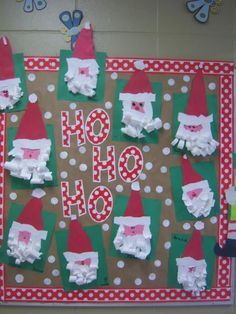 Cute board you can make for the holidays in your classroom! Have the kids make there own santa and have them hang theres up!