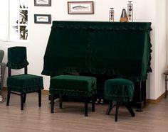 ピアノ椅子カバー408XG背もたれ椅子カバー(画像左)グリーン