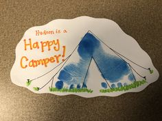 Do you love camping, and are eager for your baby to love it just as much? well why not start with this cute tent footprint craft to remember how small Daycare Crafts, Classroom Crafts, Baby Crafts, Kid Crafts, Toddler Art, Toddler Crafts, Toddler Camping, Infant Crafts, Camping Crafts For Kids