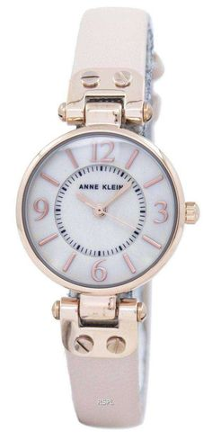 Features:  Rose Gold Tone Strainless Steel/Metal Case Leather Strap Quartz Movement Mineral Crystal Rose Gold/Mother Of Pearl Dial Analog Display Pull/Push Crown Buckle Clasp 30M Water Resistance  Approximate Case Diameter: 26mm Approximate Case Thickness: 8mm