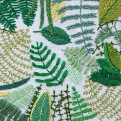 """""""Ferns for the first day of spring! This piece available in the shop #happycactusembroidery #dstexture #jungalowstyle"""""""