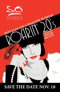 Save the Date postcard for a fundraiser with a 1920's jazz theme in November 2012