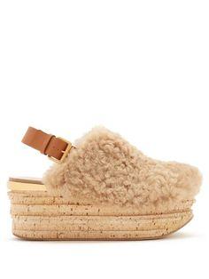 Chloé Camilla shearling wedge sandals