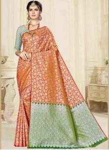 Rust Mehndi Banarasi Silk Designer Saree