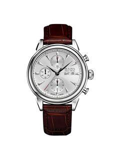 Bulova Accu Swiss Gemini Reloj Automático para Hombre con cronógrafo de plata y…