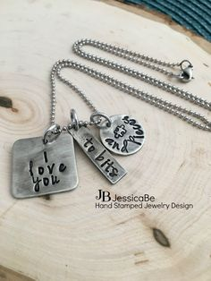 I Love You Necklace  Hand Stamped Necklace  Bits and by JessicaBe