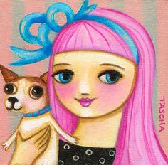 "Jenny Holiday   Adooorable painting by Tascha!! She was inspired by a photo of Jenny & ""the litte"" :) Too cute!"