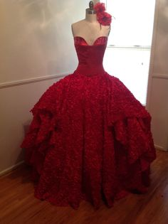Red Quinceanera Dress Princess Ball Gown Style by NDCustomClothing