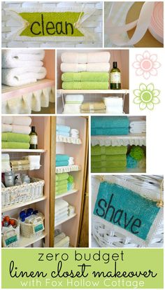 Linen Closet Makeover - #organized #linen #closet - Shop your home for a diy NO MONEY makeover like this!