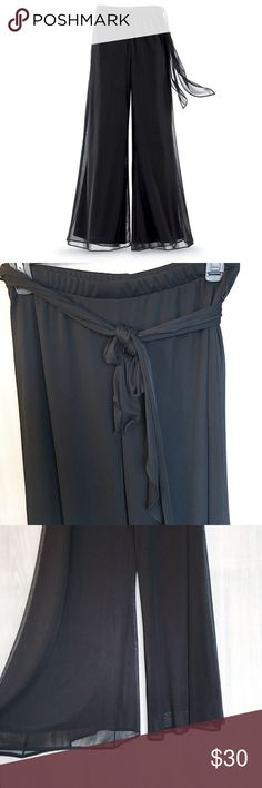 Beautiful black chiffon palazzo pants! You'll love these beautiful black chiffon palazzo with a wrap tie and the waist. Never worn, new without tags! Pants