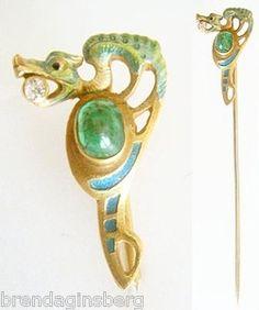 Antique Art Nouveau Emerald Diamond Gold Enamel Dragon Stick Pin