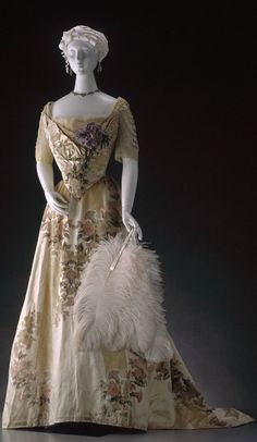 evening gown with sleeves Ball Gown, House of Worth (Paris, France): ca. 1900, silk stripes alternating with cut velvet, trims.