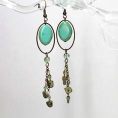 """Boucles d'oreilles """"les ovalides""""- magnésite, perles de bohême, laiton et métal bronze -"""