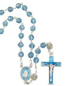 Rosary, Swarovski Blue Crystal Beads Rosary | RosaryMart.com