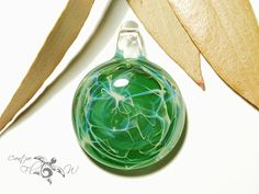 Glass Pendant Water Fern Pendant Glass Art by CreativeFlowGlass #universedroplet #space #glasspendant #etsyglass #creativeflowglass #flamework #green #nebula #cosmos