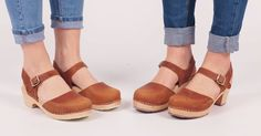 Lotta's High wood and Low wood Clogs in Brown Oiled Nubuck