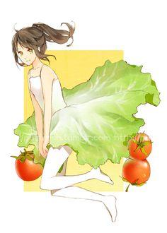 Salad by carrot-milk on DeviantArt Anime Chibi, Anime Art, Chibi Food, Anime Version, Anime People, Food Drawing, Cute Chibi, Anime Demon, I Love Anime