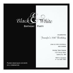 Elegant Black And White Party Card Masquerade Invitations 50th Birthday 70th