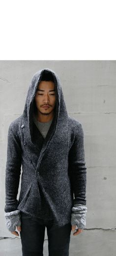 GUYLOOK.COM - Fast Fashion Men Clothes Online Shop: Avant-garde Hooded Marled Cardigan-Cardigan 10