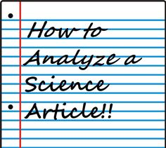 The Next Generation Science Standards are coming soon and you need to be ready. There is a Standard for nearly every science discipline that requires students to read and understand an article from a science journal. She has worksheets for high school science courses in order to help them understand how to read a journal article. Thank you Kimberly Onak!