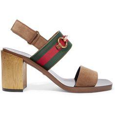 72f240d36f6 Gucci - Horsebit-detailed Suede Sandals - Brown - IT · Brown Block Heel ...
