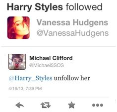 Harry decided to follow Vanessa Hudgens after watching Spring Breakers and this was Michael's response hahahah