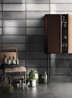 3.6 Iris Ceramica Industrial Glass ir_dig_industrial_glass_grey_concrete_grey_amb3_6020_6060 , Designer style style, Diesel Living, Public spaces, Ceramic Tile, wall, Matte surface, Glossy surface, non-rectified edge