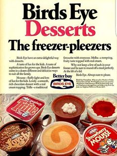 Birds Eye desserts - I used to love these desserts. If you timed it just right you could eat with just a little ice crystal . Worked particularly well with the chocolate desserts and trifles 1970s Childhood, My Childhood Memories, Childhood Toys, Sweet Memories, Retro Recipes, Vintage Recipes, Those Were The Days, The Good Old Days, Vintage Ads Food