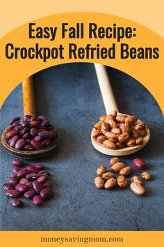 This is the EASIEST way to make homemade crockpot refried beans!!! Making refried beans from scratch with this recipe transforms a rather boring side dish to a flavor packed feature! Crockpot Refried Beans, Homemade Refried Beans, Frugal Meals, Easy Meals, Fall Recipes, Whole Food Recipes, Healthy Snacks, Healthy Recipes, Cheap Dinners