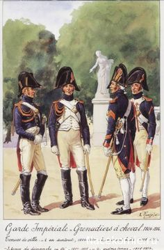 French; Imperial  Guard, Grenadiers a Cheval. showing the variations in Tenue de ville. The two on the right being Tenue de Ville Dimanche