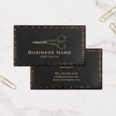Shop Hair Salon Antique Scissor Vintage Leather & Metal Business Card created by cardfactory. Beauty Business Cards, Metal Business Cards, Business Card Design, Business Logos, Business Ideas, Barbershop Design, Hairstylist Business Cards, Office Supply Organization, Vintage Office