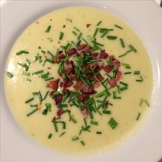 Today I made potato leek soup  with bacon and chives. It was so delicious!