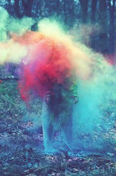 Colored powder explosions. Photo by British photographer Louis Lander-Deacon.