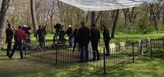 Filming scenes from JR's funeral