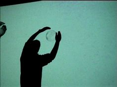 multi user installation bubbes  Muench   Furukawa   ZKM Karlsruhe, 2000  By entering the light beam of the data projector, the participant casts a shadow onto the projection screen. the screen area is captured by a video input system and each bubble is able to independently recognize both the shadows' touch and its direction.