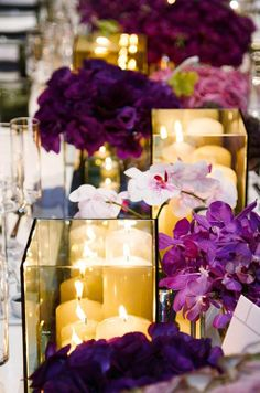 Pantone, Color of the Year, Radiant Orchid, Purple, Wedding Inspiration Candle Centerpieces, Wedding Centerpieces, Wedding Table, Our Wedding, Dream Wedding, Wedding Decorations, Pillar Candles, Centrepieces, Reception Table