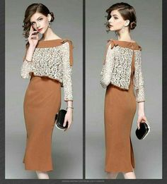Long dress, polyester blend, brown color, outer shirt and sleeve is white lace fabric – Designs Simple Dresses, Elegant Dresses, Pretty Dresses, Lace Dresses, Short Dresses, Formal Dresses, Wedding Dresses, Batik Dress, Silk Dress