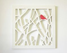 Bird Art --- trace pattern on the inside of a canvas and cut out! easy DIY
