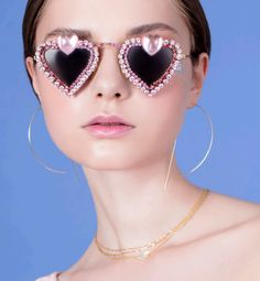 New Collection Pink Magnolia Mx The Sister feature Mercura NYC heart crystal & resin sunglasses current look book
