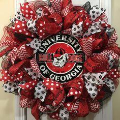 Georgia Bulldog Wreath for front door with deco mesh & ribbon, UGA, Football Team Wreaths, Football Party Decorations, Baseball Wreaths, Sports Wreaths, Football Decor, Christmas Decorations, Mesh Ribbon Wreaths, Deco Mesh Ribbon, Burlap Wreath