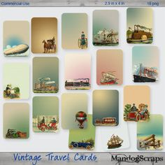 Vintage Travel Tags-Cards by Mandog Scraps Pocket Scrapbooking, Digital Scrapbooking, Vintage Travel Themes, Travel Tags, Vintage Tags, Project Life, Projects, Cards, Log Projects