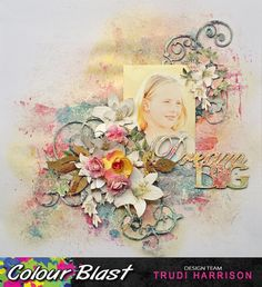 Project by DT Member Trudi Harrison. Black Pigment, Pigment Ink, Scrapbook Designs, Scrapbooking Ideas, Scrapbook Layouts, Flower Packaging, Somewhere In Time, Young Old, Face Framing