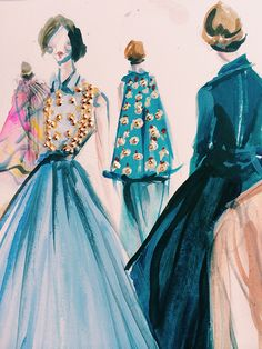 Sketch from Delpozo's FW14 Collection at New York Fashion Week.  Watercolor, Gouache, and Swarovski Crystals.