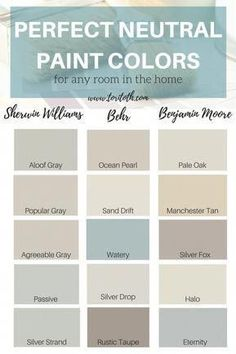 Neutral paint colors are a fool-proof way to add color and dimension to a room w. Neutral paint co Neutral Paint Colors, Bedroom Paint Colors, Paint Colors For Living Room, Paint Colors For Home, Neutral Colour Palette, House Colors, Colour Palettes, Paint Palettes, Wall Colors