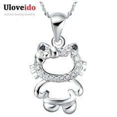 Find More Pendant Necklaces Information about Sweet Cat Pendant Necklace Women Joyas de Plata 925 Chains Bijoux Micro Pave CZ Diamond Girls Birthday Gifts Ulove N613,High Quality necklace omega,China necklac Suppliers, Cheap necklace solitaire from ULOVE Fashion Jewelry on Aliexpress.com