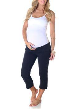 Charcoal-Maternity-Capri-Yoga-Pants