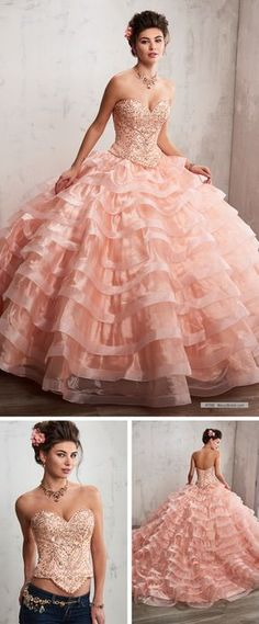 Mary's Quinceanera Style 4T190 • 2 piece organza quinceanera ball gown with beaded bodice, strapless sweetheart neck line, basque waist line, tiered skirt with train, lace-up back, and matching bolero.